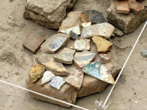 Shards of pottery found at the dig site in ancient Merv.