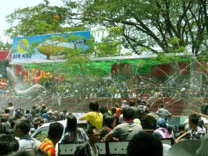 Celebrating the Water Festival in Yangon, Myanmar