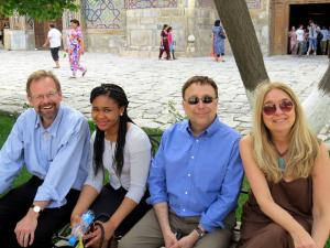 From left to right: Chris Merrill, Chinelo Okparanta, Stephen Kuusisto, and Ann Hood in Samarkand
