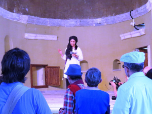 Poet Somaia Rumish of Afghanistan reading Rumi inside the Armenian church in Karaman