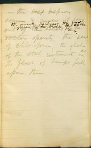A page from Walt Whitman's notebook, written during his trips to visit hospitalized soldiers.