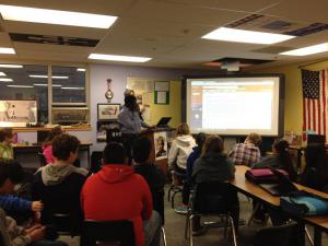 Samuel leads a high school class in Alaska, during is time at the Island Institute.