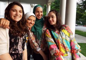 Participants from Palestine, Egypt, and the U.S. hang out at Shambaugh House.