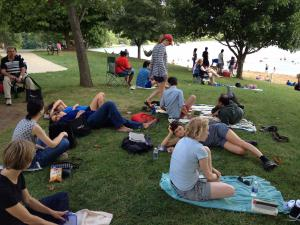 A snapshot of the writers and IWP staff relaxing at Lake MacBride.