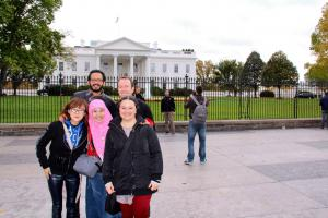 (Click to Enlage) IWP Fall Residents in front of the White House in Washington D.C. Photo credit: Asma Nadia.