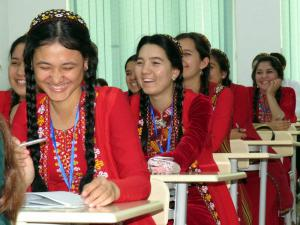 Writers spoke with students at International Turkmen Turkish University (here in traditional Turkmen dress, the school uniform).