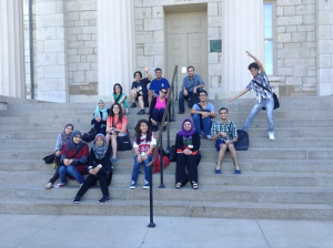 BTLers relax for a moment on the steps of the Old Capitol Museum in Iowa City.
