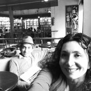 Sholeh and Mohsen at a cafe in Mexico City, where they often worked on the translation of the 52-section poem.
