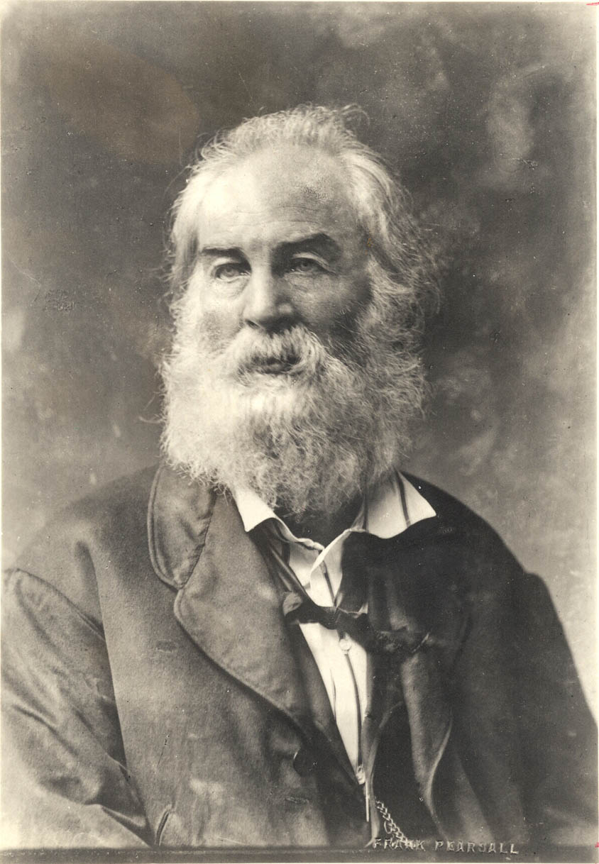 Whitman with collar and chain (Photo F. Pearsall, btw 1868 and 1872.)