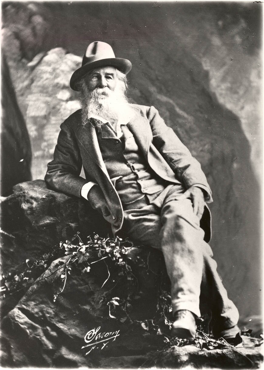 Whitman on a rock. A 1878 photo by Napoleon Sarony.