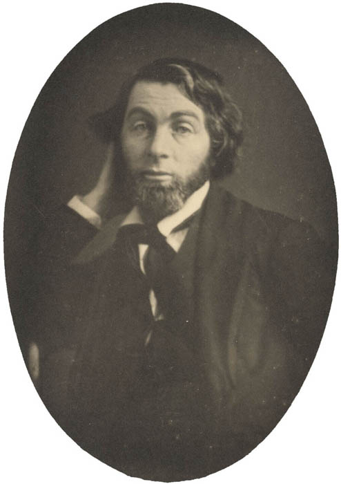 Oval daguerreotype of Whitman, dated New Orleans, 1848.
