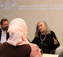 Robinson and Merrill lead a workshop with English faculty at the American University of Sharjah.jpg