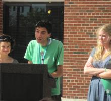 BTL and IYWS students participate in a reading at the Iowa City Book Festival.