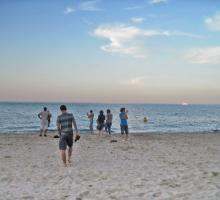 Late afternoon at Oak Street Beach, Chicago.