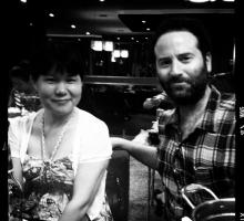 A Mao and Dan O'Brien pose for a quick picture following a meal in Shanghai.