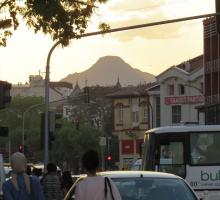 A view of the volcano from downtown Konya.jpg