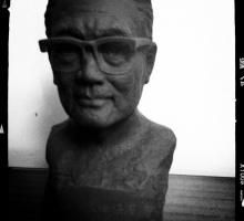 The writers visited the former residence of seminal Shanghai author Ba Jin. Seen here is a small bust of the author.