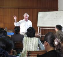 3-Bob Hass talking about Poetry to faculty at Yangon University.jpg