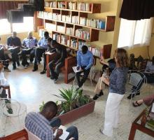 Gabrielle Calvocoressi starts a writing exercise at the Haiti PEN Center.jpg