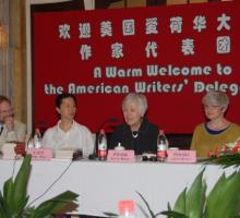 From left: IWP Director Christopher Merrill, Shanghai Writers' Association President Wang Anyi, University of Iowa President Sally Mason, and President of the University of Iowa Foundation Lynette Marshall.