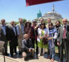 Most of our group outside of Rumi's Shrine and Museum in Konya.jpg
