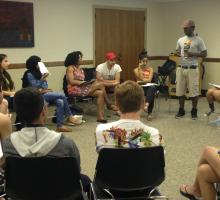 Malcolm London leads a slam poetry workshop.