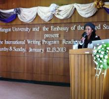 Zuwena Packer giving her first lecture at Yangon University