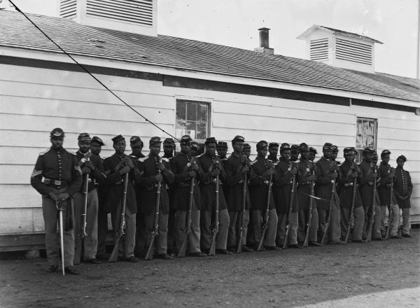 Members of Company E of the 4th U.S. Colored Troops at Ft. Lincoln (Courtesy Library of Congress).