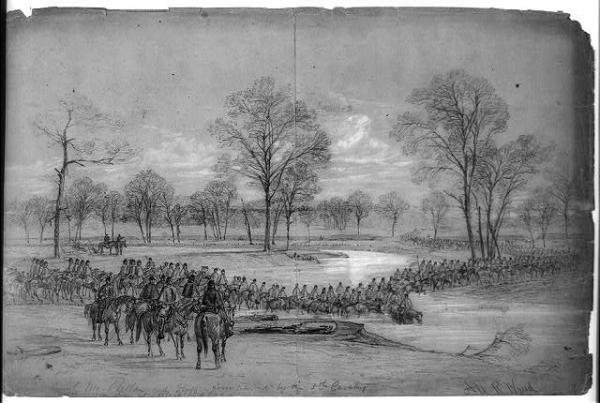 Genl. McClellan and Staff accompanied by the 5th Cavalry crossing Bull Run at Blackburns Ford (from Library of Congress)
