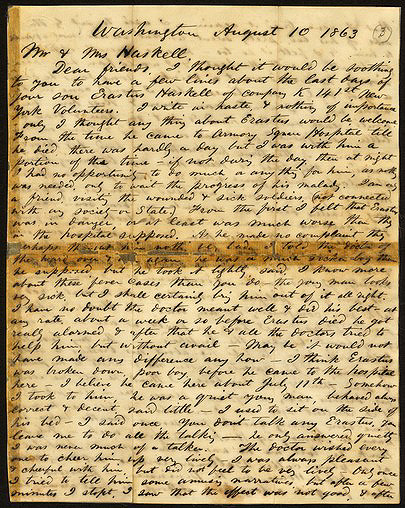 First page of Whitman's letter to Mr. and Mrs. Haskell, August 10, 1863. Courtesy of New-York Historical Society.