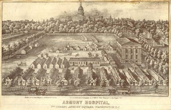 Lithograph of the Armory Square Hospital (Courtesy of National Library of Medicine)
