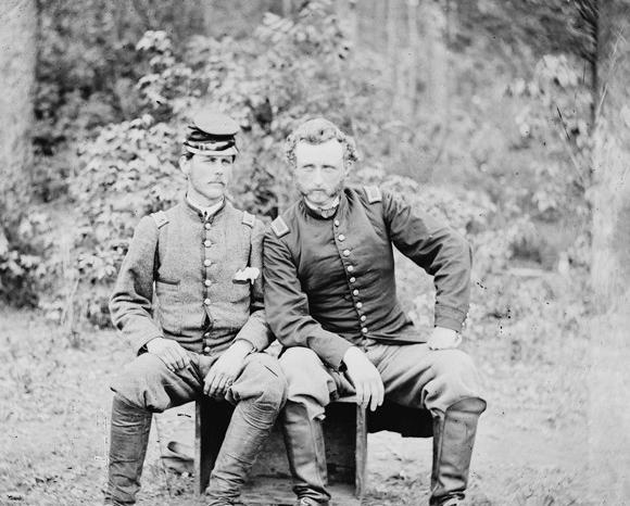 A Confederate and a Union soldier together.