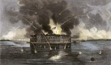 The bombardment of Fort Sumter (engraving by unknown artist)