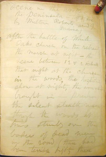 "A page from one of Whitman's Civil War hospital notebooks, recording the story that generated ""A March in the Ranks, Hard-Pressed."" Courtesy Walt Whitman Archive."