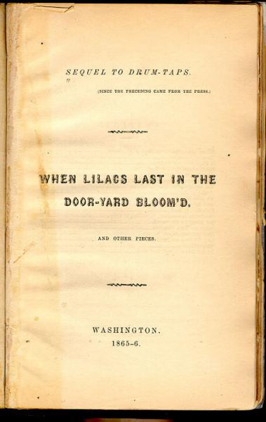 Title page of Walt Whitman's Sequel to Drum-Taps.