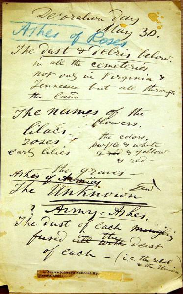 "Whitman's notes for revision of ""Hymn of Dead Soldiers"" (later ""Ashes of Soldiers""). Library of Congress, Charles E. Feinberg Collection. Scan courtesy of Walt Whitman Archive."
