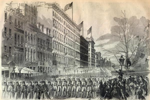 New York 7th Regiment marching down Broadway before heading off to war. Harper's Weekly (May 4, 1861)