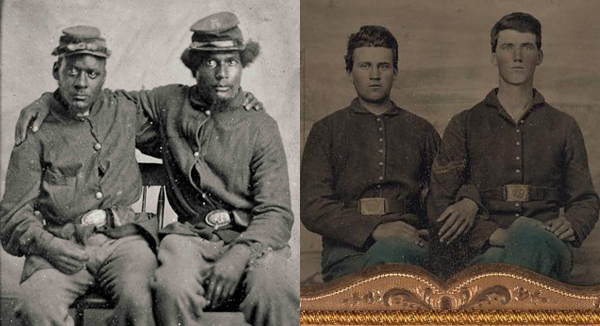 Left: Two Union soldiers during the Civil War. Courtesy Library of Congress. Right: Two Union soldiers during the Civil War in front of a painted backdrop of a camp scene.