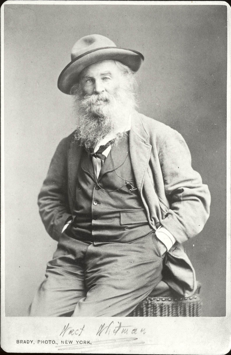 Whitman, the sensitive tough, in his 'sauce-pan hat.'